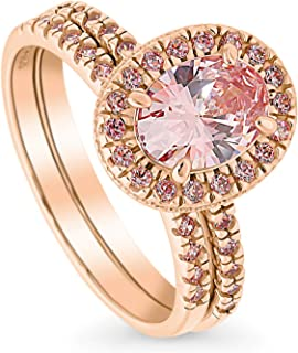 BERRICLE Rose Gold Plated Sterling Silver Halo Engagement Wedding Ring Set Made with Swarovski Zirconia Morganite Color Oval Cut 1.66 CTW