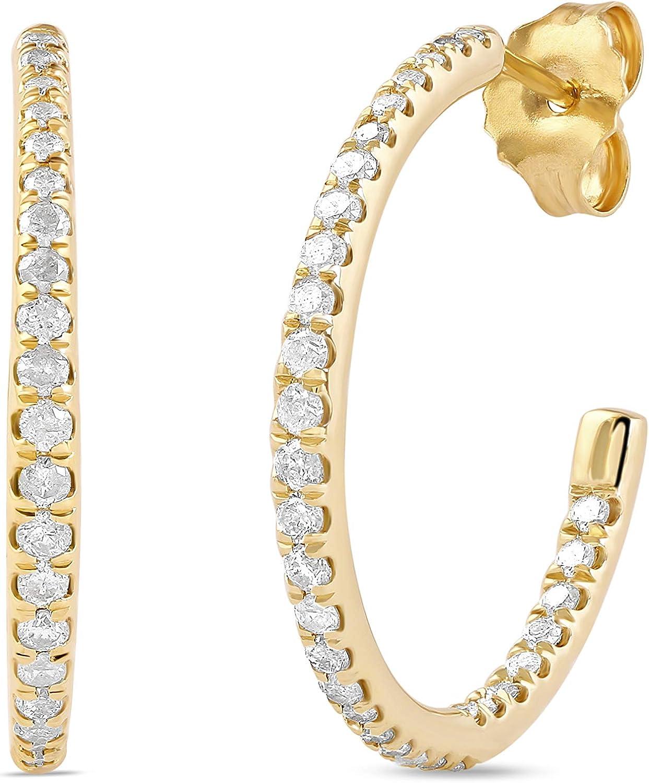 10k Gold 1 Free Shipping Cheap Bargain Gift 2 Diamond CT.TDW. Earrings Hoop Gorgeous