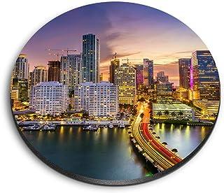 Aimants ronds en MDF Destination Vinyle Ltd Awesome – Biscayne Bay Miami Florida Skyline pour bureau, armoire et tableau b...