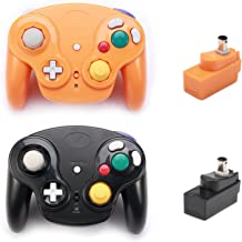 Poulep 2 Packs Classic 2.4G Wireless Controllers Gamepad with Receiver Adapter for Nintendo Wii U Gamecube NGC GC (Black and Orange2)