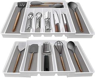 Sorbus Cutlery Organizer & Utensil Tray Setfor Drawers - Includes 2 Kitchen Storage Trays for Flatware, Silverware, Cooki...