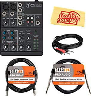 Mackie 402VLZ4 4-Channel Ultra-Compact Mixer Bundle with XLR Cable, Instrument Cable, Stereo Breakout Cable, and Austin Bazaar Polishing Cloth