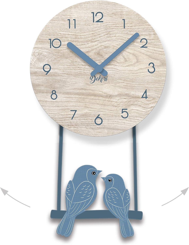 DEKORI Orologio da Parete Cucina con Uccellini a Pendolo Disponibile in Diversi Colori Made in Italy. Preciso e Silenzioso Arreda con Stile e Rallegra Ogni Ambiente della Casa