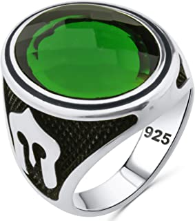 Spartan Solid 925 Sterling Silver Faceted Oval Simulated Green Emerald Stone Luxury Men's Ring
