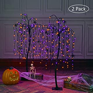 LIGHTSHARE 4 Feet Halloween Willow Tree, 160 LED Lights,Pack of 2,with 8 Spiders,for Home, Festival, Nativity,Party, and Christmas Decoration, Indoor and Outdoor Use,Orange & Purple