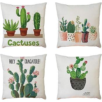Fossrn 4PC/Conjunto Fundas Cojines 45x45 Geométricas Modernos Funda de Cojines para Sofa Jardin Cama Decorativo (Cactus): Amazon.es: Ropa y accesorios