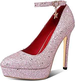 Single Buckle Platform High Heels For Banquet Wedding Dress Daily (Color : Pink, Size : 35)