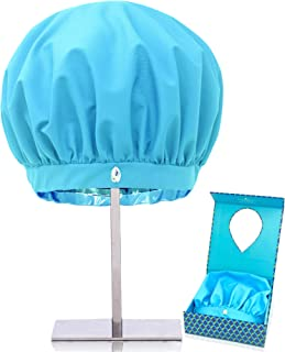TURBELLA Luxury Shower Cap for Women   Waterproof Breathable Fabric Removes Humidity to Keep Hair Dry + Styled   Adjustable Anti Slip Band   Big + Reusable   Swarovski   Made in USA Quality   Gift Box