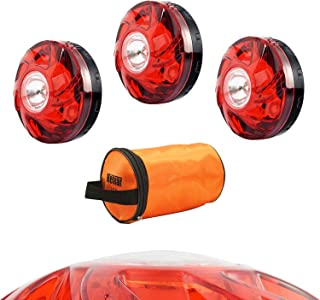 Heliar LED Road Safety Flares Car Emergency Warning Lights Reusable Roadside Safety Flare Beacon Kit for Vehicles & Boat 3 Packs