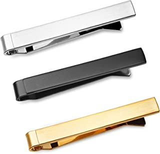 3 Pc Mens Tie Bar Slide Clip Set Skinny Ties 4 cm, Brushed Silver, Black, Gold in Gift Box