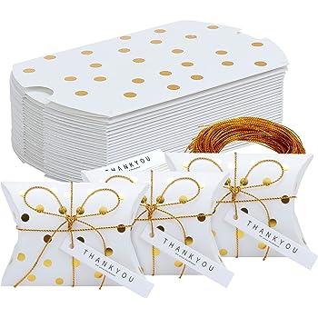 Silver scatole creative di carta per dolcetti cuscino per bomboniere nuziali 24-Pack TsunNee scatola di carta per caramelle con fiore adesivo scatola regalo stampata