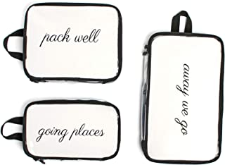 Miamica Packing Cubes for Travel, 3-Piece Set, Clear