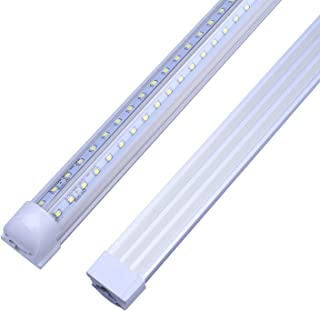 LED Light Tube, 6FT 56W (120W Equivalent), Double Side V-Shape Integrated Tubes Lamp, Works Without T8 Ballast, Plug and Play, Clear Cover, Cold White 6000K, AC85-265V - Pack of 25 Units