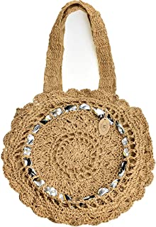 Woven Tote Bags for Women, Straw Shoulder Bags Large Summer Beach Bag, Round Crochet Hand Bags for Girls