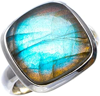 Natural Blue Fire Labradorite Handmade Unique 925 Sterling Silver Ring 8.5 B1605