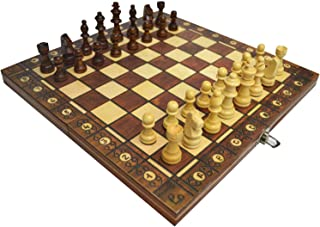 3 In 1 Classic Wooden Chessboard Game Deluxe Portable Folding Chess Backgammon Checkers Set Puzzle Educational Gift For Ki...