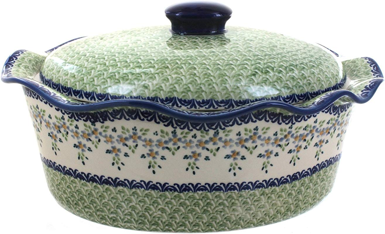 Polish Pottery Summer Vine Large Oval Baker With Lid