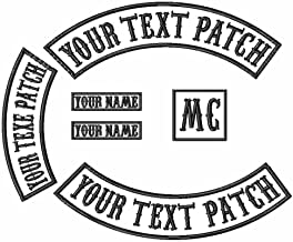 6 Pack Custom Embroidered MC Biker Patches, Personalized Embroidery Rocker Patch Rider Motorcycle Patches Back Name Patch Appliqued/Iron-on/Sew-on Veterans Jacket(White Fabric+Black Text+Black Border)