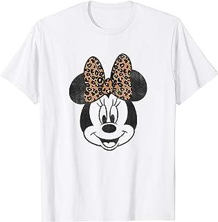 Disney Minnie Mouse Big Face Smile Animal Print Bow T-Shirt
