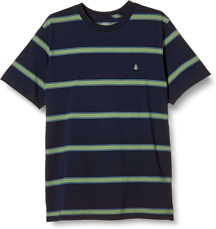 Volcom Men's Da Fino Crew Short Sleeve Striped Shirt