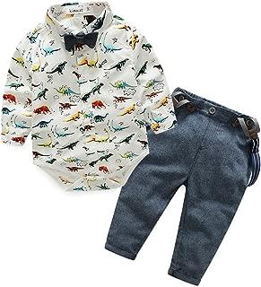 Baby Boy Gentleman Dinosaur Tie Shirt Suspender Pants Clothing Set