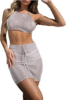maxsisi New Women 2Pcs Mesh Cover Up Halter Bandage Crop High Waist Belt