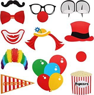 Halloween Carnival Clown Photo Booth Props Sign Kit - Fiesta Circus Clown Selfie Dress-up Props Table Toppers - Happy Birthday Party Centerpiece Sticks Derocation