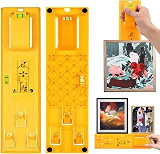 Picture Hanging Kit, H HOME-MART Picture Frame Hanger Level Tool Ruler for Measuring and Marking Position, Hooks, Nails an...