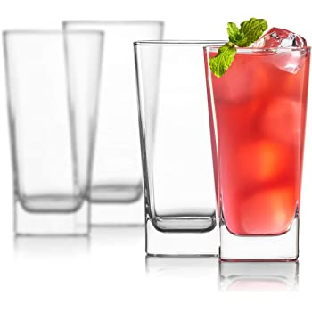 Highball Glasses [Set of 4] + 4 Stainless Steel Straws, 16 oz Lead-Free Crystal Clear Glass, Elegant Drinking Cups for Water, Wine, Beer, Cocktails and Mixed Drinks - Round Top, Square Bottom