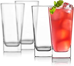 Highball Glasses [Set of 4] + 4 Stainless Steel Straws   Lead-Free Crystal Clear Glass   Elegant Drinking Cups for Water, Wine, Beer, Cocktails and Mixed Drinks   Round Top, Square Bottom