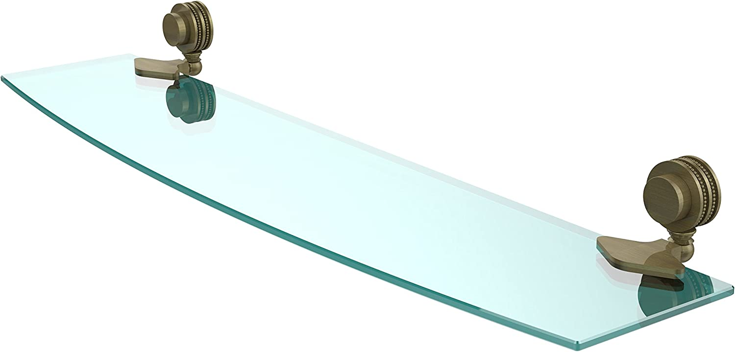 Allied Brass 433D 24-ABR Venus Collection Beveled Glass Shelf 24-Inch by 5-Inch, Antique Brass
