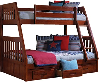 Cambridge Stanford Bunk with Storage Childrens Bed Frames, Twin Over Full