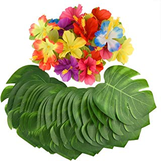 "KUUQA 88 Pcs 20cm/8"" Tropical Palm Leaves and Silk Hibiscus Flowers Party Decor, Artificial Monstera Plant Leaves Flowers Hawaiian Luau Party Jungle Beach Theme BBQ Birthday Party Decorations Supplie"