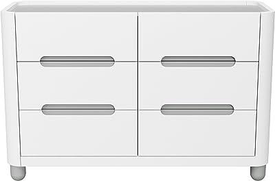 d6c4f85a9f3f Storkcraft Roland 6 Drawer Dresser, White/Pebble Gray, Kids Bedroom Dresser  with 6