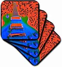 3dRose CST_14843_1 Colorful Guitar-Soft Coasters, Set of 4
