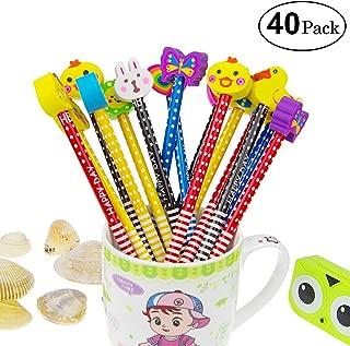 Yolistar - Juego de lápices de dibujos animados, 40 piezas de lápiz de madera con borrador de grafito, lápices de colores con borradores, regalo para niños, material escolar, para fiesta de cumpleaños