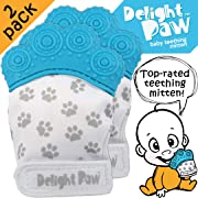 Delight Paw   Baby Teething Mitten 2 Pack   Mom Designed   Self Soothing Pain Relief   Hygienic Travel Bag   Mittens BPA Free   Like Munch Mitt   Baby Boy Baby Girl   Babies 3-12 Months   Bubbly Blue