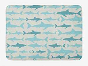 Ambesonne Sea Animals Bath Mat, Pastel Colored Monochrome Pattern of Shark Illustrations Maritime Nautical Vintage Aquatics, Plush Bathroom Decor Mat with Non Slip Backing, 29.5