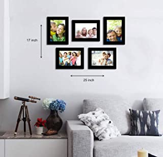 Art Street Happy Memory Set of 5 Individual Photo Frame/Wall Hanging for Home Décor - Black