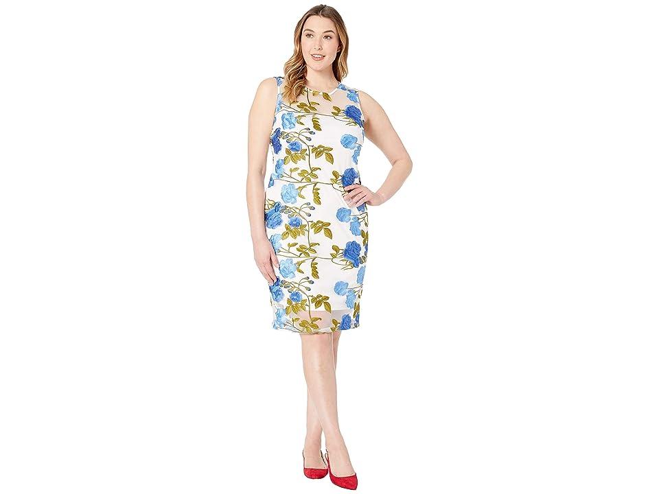 Calvin Klein Embroidered Lace Sheath Dress (Regatta/White) Women