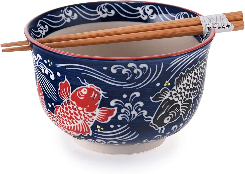 Happy Sales HSRB-NRBCOI Multi Purpose 6.25D Large Ramen Udon Soba Pho Noodle Donburi Rice Tayo Bowl with Chopsticks Red /& Black Coi