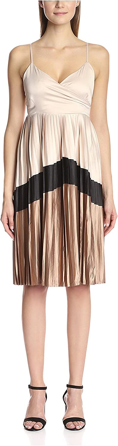 Lucca Couture Women's Pleated Dress with Chevron Stripe