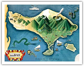 Pacifica Island Art Map of Bali, Indonesia - Tanáh (Tanah) Lot Balinese Temple - Vintage Illustrated Map by Miguel Covarrubias c.1930s - Fine Art Print - 11in x 14in