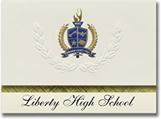 Signature Announcements Liberty High School (Frisco, TX) Graduation Announcements, Presidential style, Basic package of 25 with Gold & Blue Metallic Foil seal