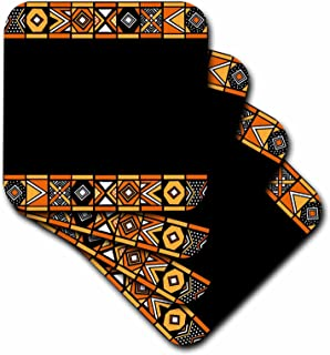 3dRose CST_76554_3 Traditional African Pattern Art of Africa Inspired by Zulu Beadwork Geometric Designs Ethnic Ceramic Tile Coasters (Set of 4)