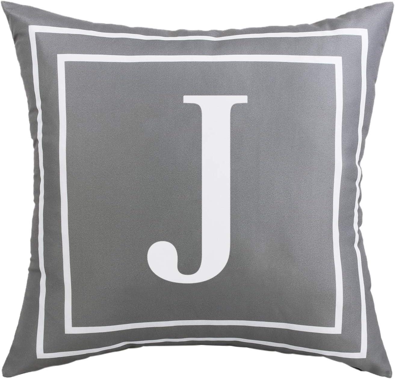 Ranking TOP14 Fascidorm Gray Pillow Cover Indianapolis Mall English J Throw Alphabet Case