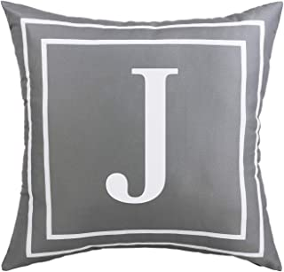 BLEUM CADE Gray Pillow Cover English Alphabet J Throw Pillow Case Modern Cushion Cover Square Pillowcase Decoration for Sofa Bed Chair Car 18 x 18 Inch