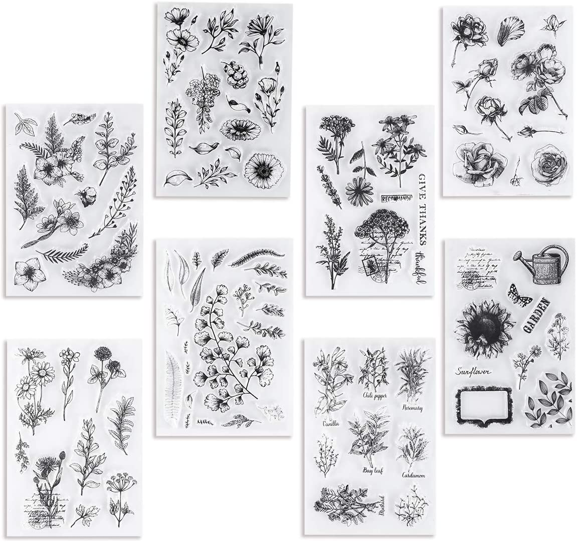 UCEC 8 Ranking TOP11 Sheets Clear Stamps Vintage Plants and Flowers Silicone favorite