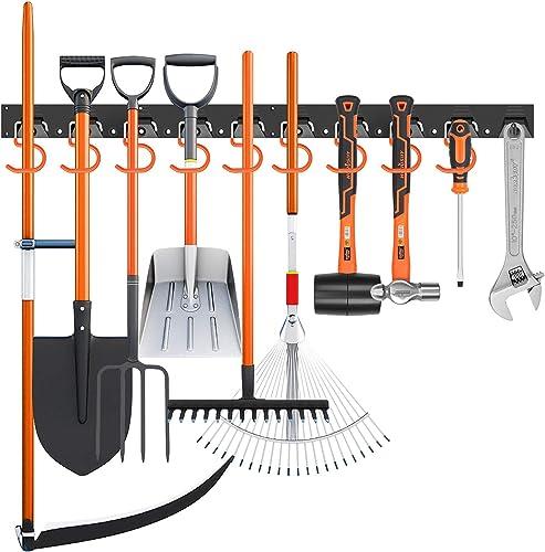 popular HORUSDY 64 Inch Adjustable Storage System, Wall Mount lowest Tool Organizer, Tool Hangers for Mop and Broom Holder online Shovel, Rake, Broom, Mop Holder, Etc. online