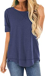 Women's Casual Short Sleeve Tunic Tops Solid Summer Loose V-Notch T-Shirts